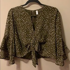 Polka Dot Cropped Blouse with Bell Sleeves